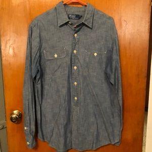Men's Polo button up denim shirt